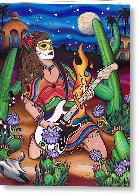 Stratocaster Drawings Greeting Cards - Sedona Greeting Card by Julie Oakes