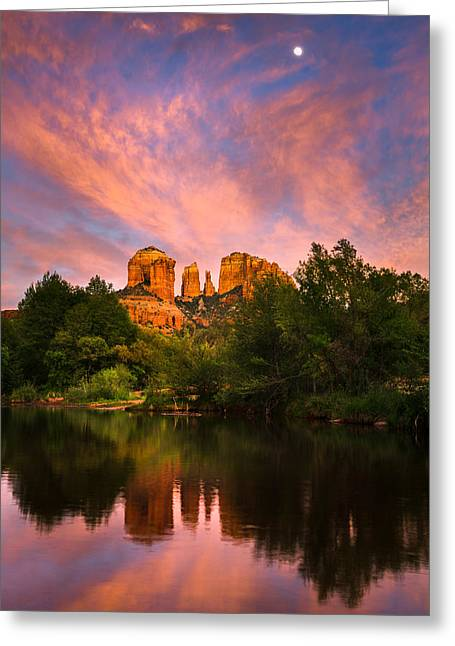 Best Sellers -  - Oak Creek Greeting Cards - Sedona Moonrise Greeting Card by Adam  Schallau