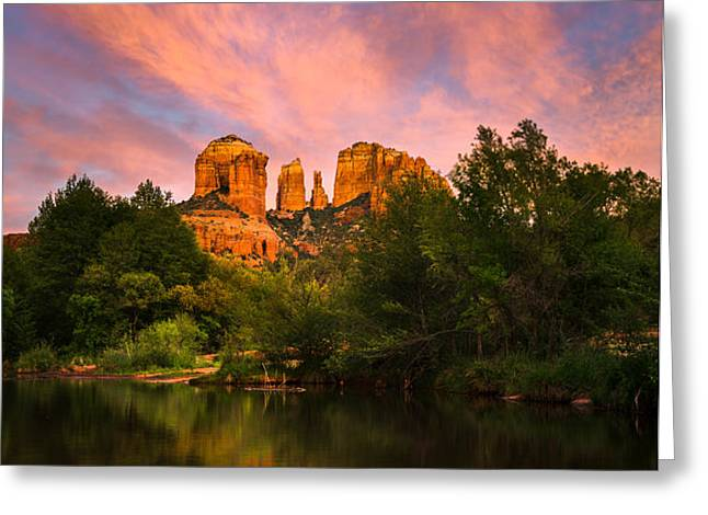Sedona Moonrise Greeting Card by Adam  Schallau
