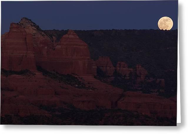 Moonrise Greeting Cards - Sedona Moonrise Greeting Card by Steve Wile