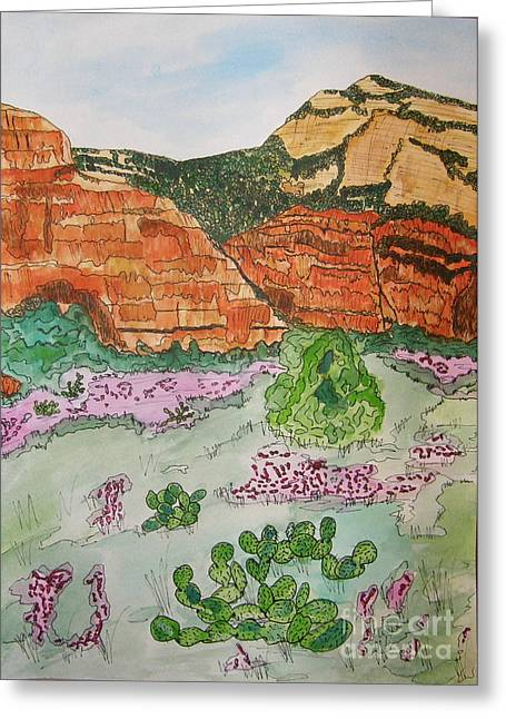 Marcia Weller-wenbert Greeting Cards - Sedona Mountain with Pears and Clover Greeting Card by Marcia Weller-Wenbert