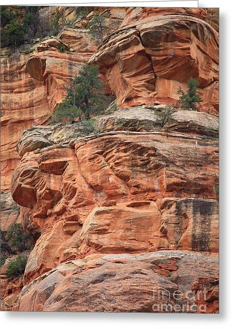 Slide Rock Greeting Cards - Sedona Sandstone Cliff Greeting Card by Carol Groenen