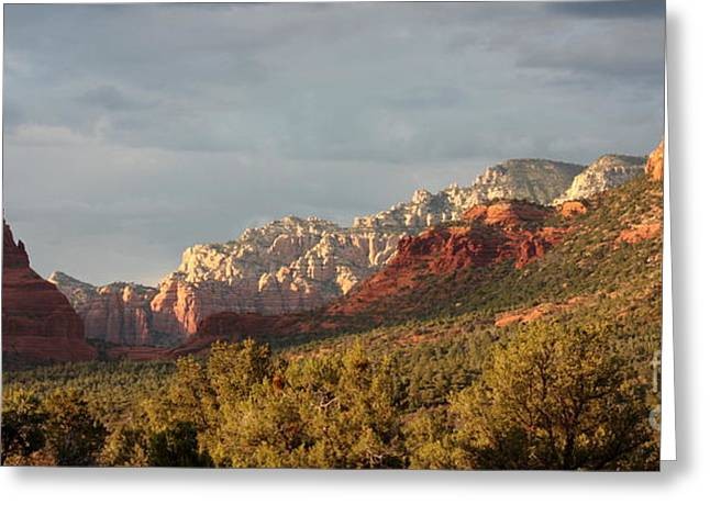 Desert Greeting Cards - Sedona Sunshine Panorama Greeting Card by Carol Groenen