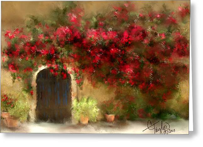 Adobe Mixed Media Greeting Cards - The Bougainvilleas of Sedona Greeting Card by Colleen Taylor