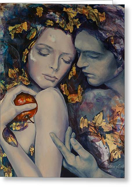 Live Art Greeting Cards - Seduction Greeting Card by Dorina  Costras