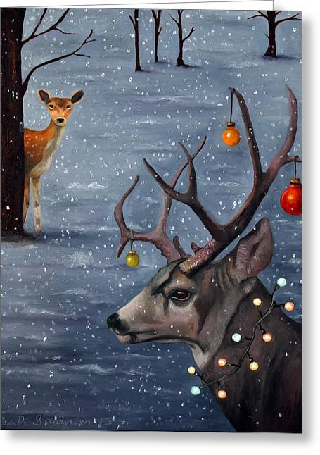 Does. Winter Greeting Cards - Seduction Greeting Card by Leah Saulnier The Painting Maniac