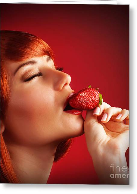 Passion Fruit Greeting Cards - Seductive female with strawberry Greeting Card by Anna Omelchenko