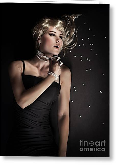 Supermodels Greeting Cards - Seductive luxury woman Greeting Card by Anna Omelchenko