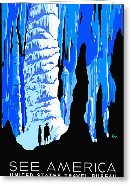 Cavern Mixed Media Greeting Cards - See America Cave Greeting Card by David Wagner