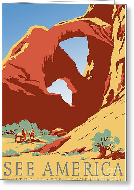 Colorado Mountain Posters Greeting Cards - See America Vintage Travel Poster Greeting Card by Jon Neidert