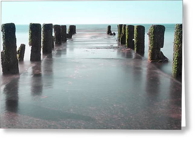 Seen Greeting Cards - See-Green Old Pier Panorama Greeting Card by Dapixara