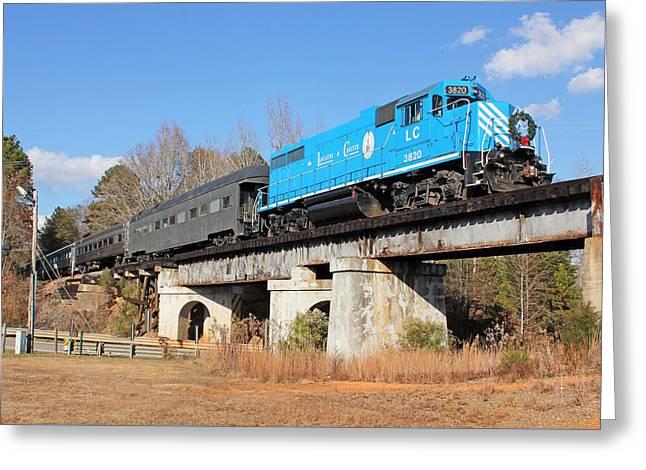 Passenger Train On Bridge. Greeting Cards - See Lancaster Santa Train 2012 5 Greeting Card by Joseph C Hinson Photography
