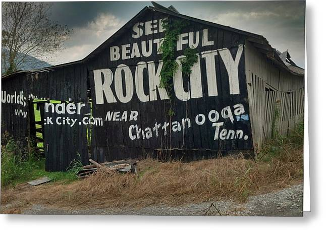 Tennessee Barn Greeting Cards - See Rock City Barn Greeting Card by Janice Spivey
