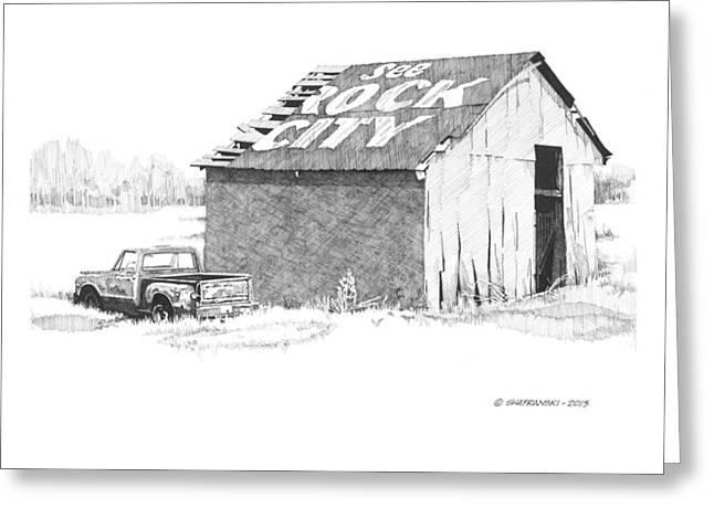 Barn Pen And Ink Greeting Cards - See Rock City Greeting Card by Paul Shafranski