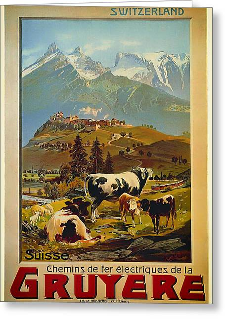Signed Drawings Greeting Cards - See Switzerland 1906 Greeting Card by Mountain Dreams