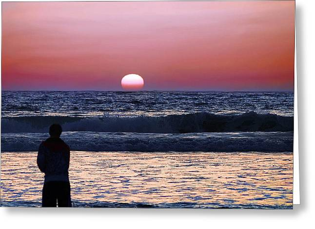Surf Silhouette Greeting Cards - See the Sun Set Greeting Card by Camille Lopez