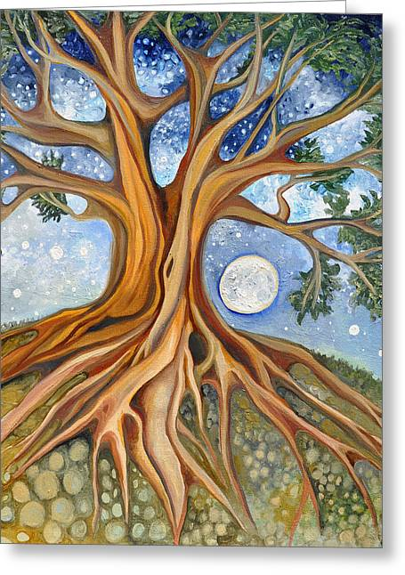 Life-cosmic Dance Greeting Cards - Seed Moon Rising Greeting Card by Cedar Lee