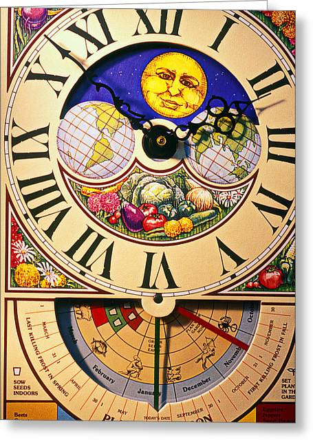 Clock Photographs Greeting Cards - Seed planting clock Greeting Card by Garry Gay