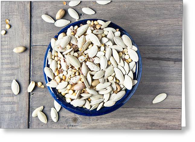 Wooden Bowls Photographs Greeting Cards - Seeds Greeting Card by Tom Gowanlock