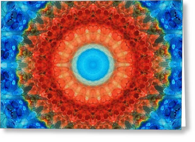 Wall-hanging Paintings Greeting Cards - Seeing Mandala 2 - Spiritual Art By Sharon Cummings Greeting Card by Sharon Cummings
