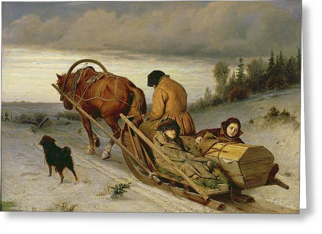 Sledge Photographs Greeting Cards - Seeing Off The Dead, 1865 Oil On Canvas Greeting Card by Vasili Grigorevich Perov