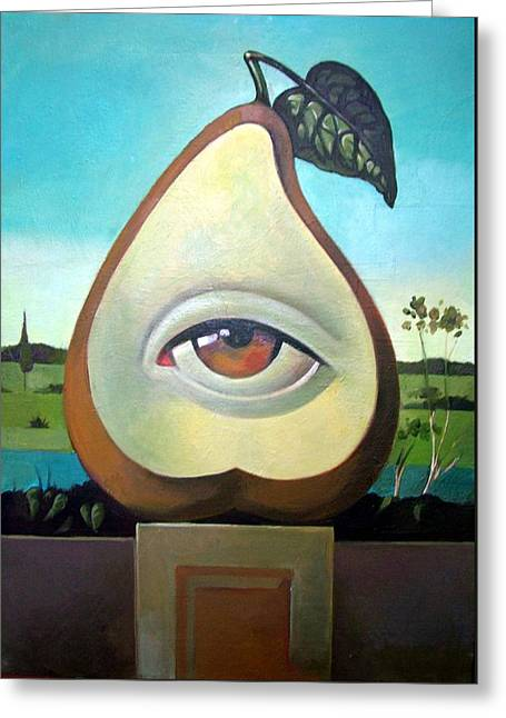Original By ist Paintings Greeting Cards - Seeing Pear Greeting Card by Filip Mihail