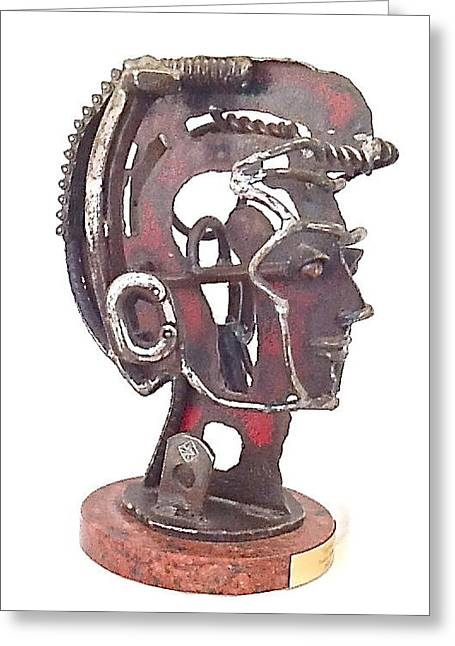 Woman Head Sculpture Sculptures Greeting Cards - Seeing Greeting Card by Pierre Riche