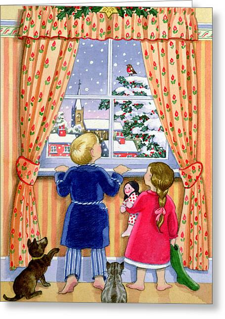 Happy Cats Greeting Cards - Seeing the Snow Greeting Card by Lavinia Hamer