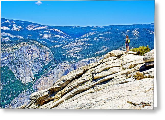 From The Dome Greeting Cards - Seeing the Top of the Sierra Nevada Mountains from the Top of Sentinel Dome in Yosemite NP-Californa Greeting Card by Ruth Hager
