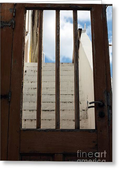 The Doors Poster Greeting Cards - Seeing Through the Door in Mykonos Greeting Card by John Rizzuto