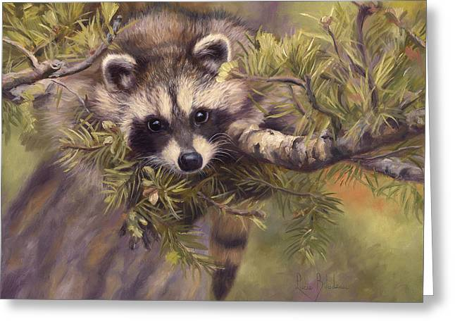 Raccoon Greeting Cards - Seeking Mischief Greeting Card by Lucie Bilodeau
