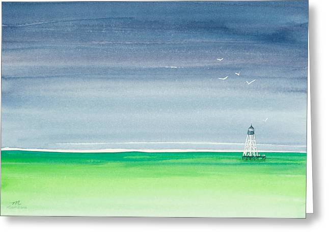 Dark Skies Paintings Greeting Cards - Seeking Refuge Before the Storm Alligator Reef Lighthouse Greeting Card by Michelle Wiarda