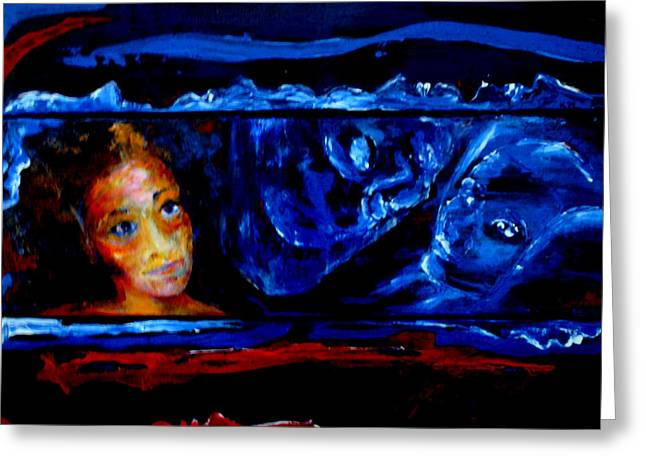 Hallucination Greeting Cards - Seeking Sleep Trilogy Greeting Card by Kathy Peltomaa Lewis