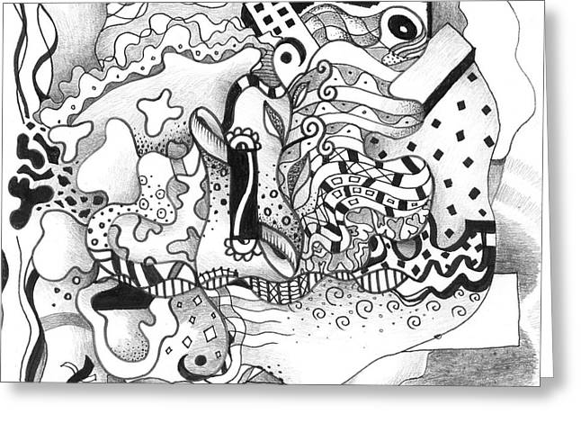 Organic Drawings Greeting Cards - Seeking Solutions Greeting Card by Helena Tiainen