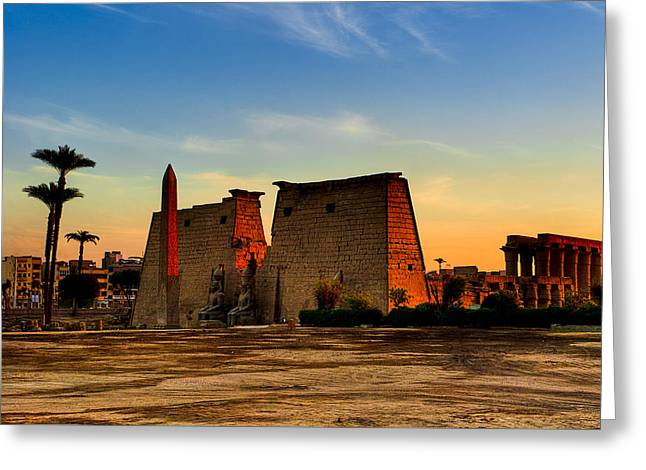 Seeking The Ancient Ruins Of Thebes In Luxor Greeting Card by Mark E Tisdale