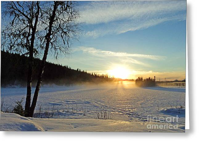 Ice-skating Greeting Cards - Seeley Lake Sunset Greeting Card by Stanza Widen