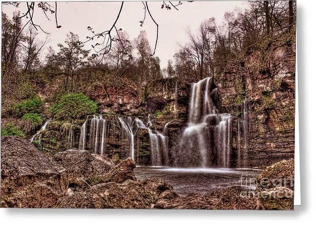 Akron Falls Greeting Cards - Seeping Waterfalls  Greeting Card by Jim Lepard