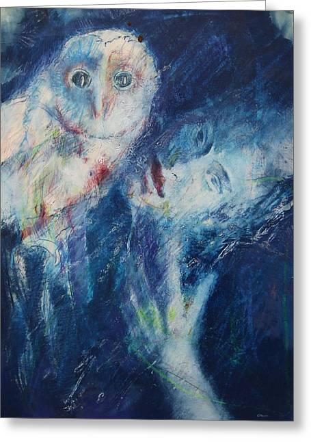 Woman And Owl Greeting Cards - Seeress Greeting Card by B J Stehlin