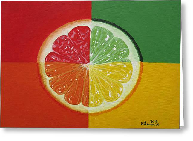 Grapefruit Paintings Greeting Cards - Segmented Greeting Card by Kayleigh Semeniuk