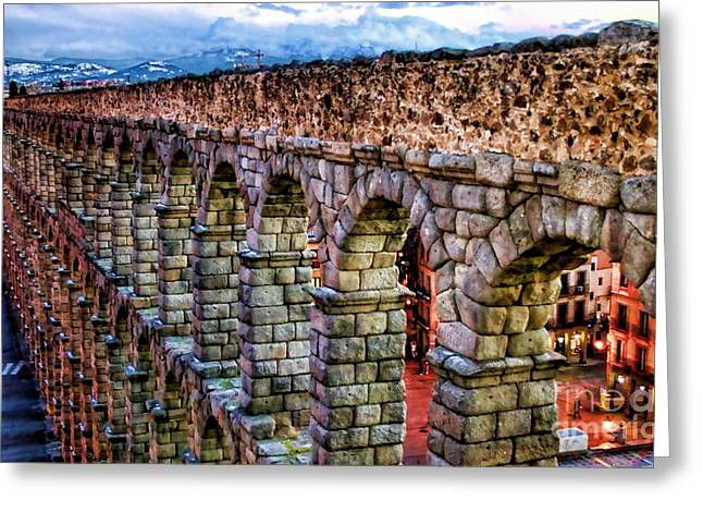 Castilla Greeting Cards - Segovia Aqueduct Spain By Diana Sainz Greeting Card by Diana Sainz