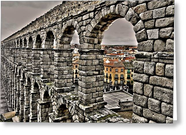 Geschichte Greeting Cards - Segovia Aqueduct - Spain Greeting Card by Juergen Weiss