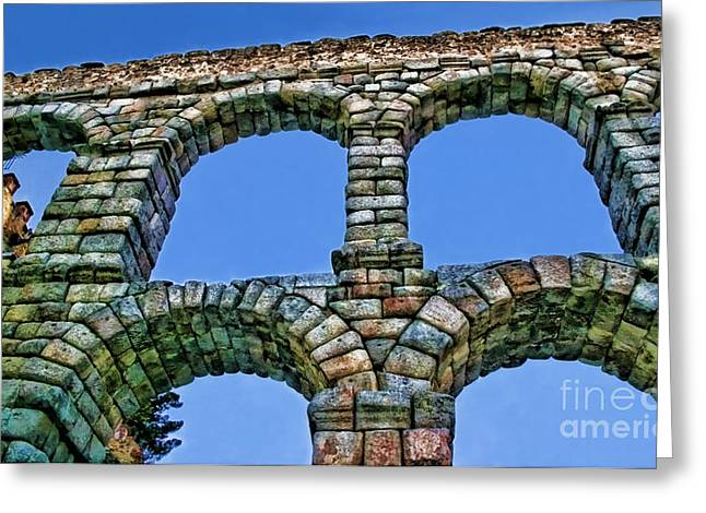Domitian Greeting Cards - Segovia Aqueducts Blue by Diana Sainz Greeting Card by Diana Sainz