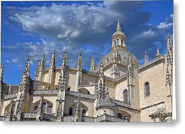 Castilla Greeting Cards - Segovia Gothic Cathedral Greeting Card by Ivy Ho