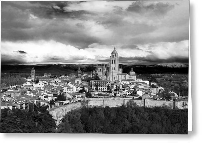 True Cross Greeting Cards - Segovia In Black and White Greeting Card by Lorraine Devon Wilke