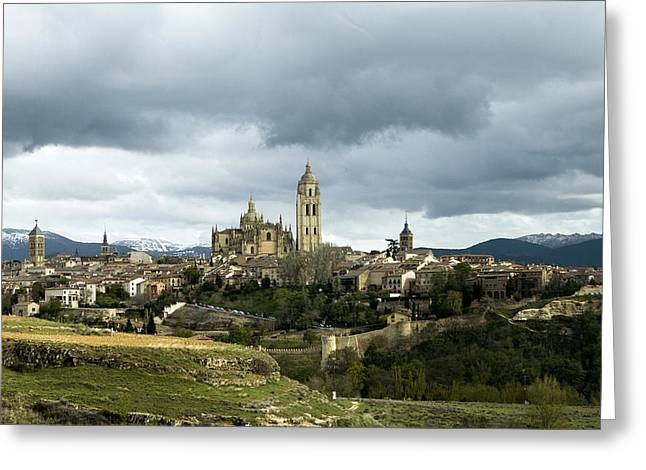 True Cross Greeting Cards - Segovia Surrounded Greeting Card by Lorraine Devon Wilke