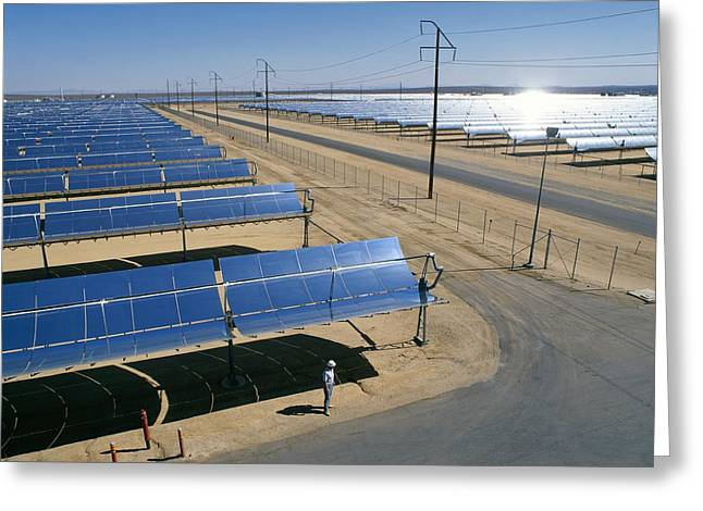 Power Plants Greeting Cards - SEGS solar power plant, California, USA Greeting Card by Science Photo Library
