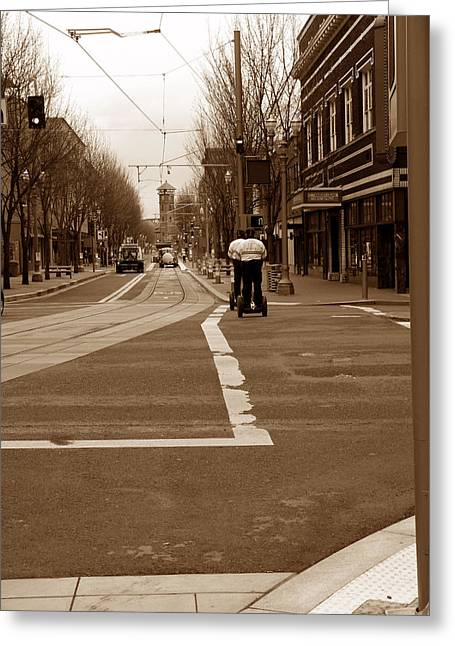 Segwaying Down The Street Greeting Card by David Bearden