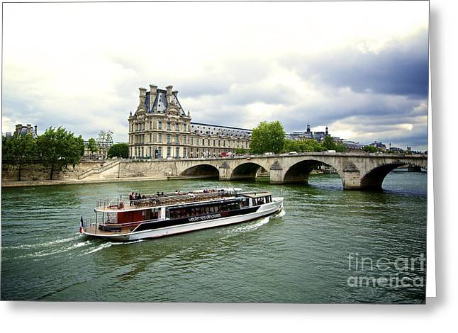 Europe Greeting Cards - Seine river and Louvre museum. Paris. France. Greeting Card by Bernard Jaubert