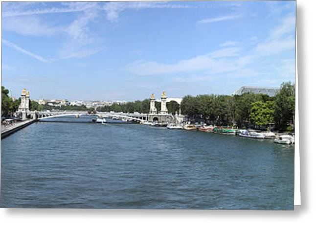 Victorian Greeting Cards - Seine River With Eiffel Tower Greeting Card by Panoramic Images