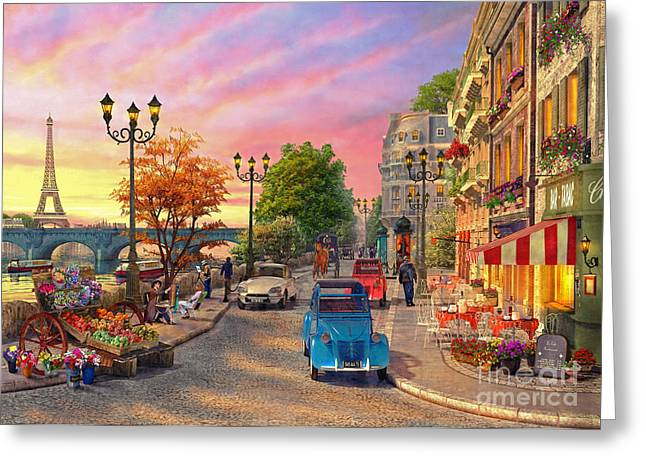 Seine Sunset Greeting Card by Dominic Davison